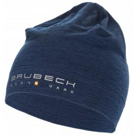 BRUBECK czapka dwuwarstwowa z wełny MERINO ciepła granatowa