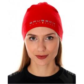BRUBECK czapka dwuwarstwowa z wełny MERINO ciepła czerwona