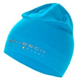 BRUBECK czapka dwuwarstwowa z wełny MERINO ciepła błękitna