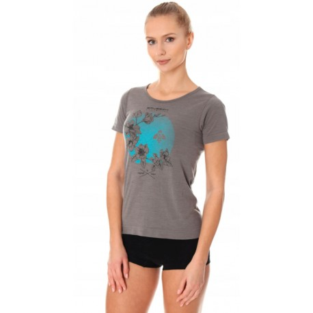BRUBECK ciepła damska koszulka z krótkim rękawem szara