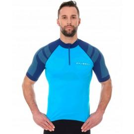 BRUBECK koszulka rowerowa z suwakiem niebieska