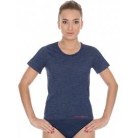 Koszulka damska BRUBECK FUSION bezszwowa ciemnoniebieska