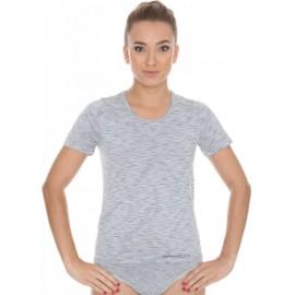 Koszulka damska BRUBECK FUSION bezszwowa popielata