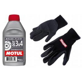Płyn hamulcowy Motul DOT 3&4 0,5L + rękawiczki robocze