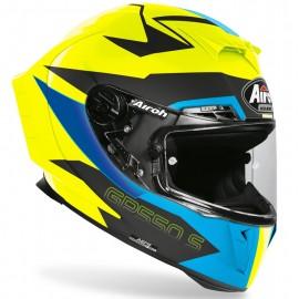 Kask Airoh GP550 S sportowy integralny niebiesko-żółty + gratis