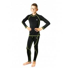 Dziecięca bielizna termoaktywna KRIS czarny/limonka