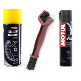 MOTUL smar+spray MANNOL+szczotka do łańcucha zestaw