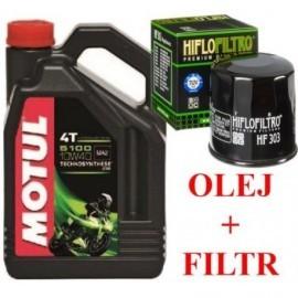 MOTUL Olej 5100 10W40 filtr HF303 Kawasaki Honda