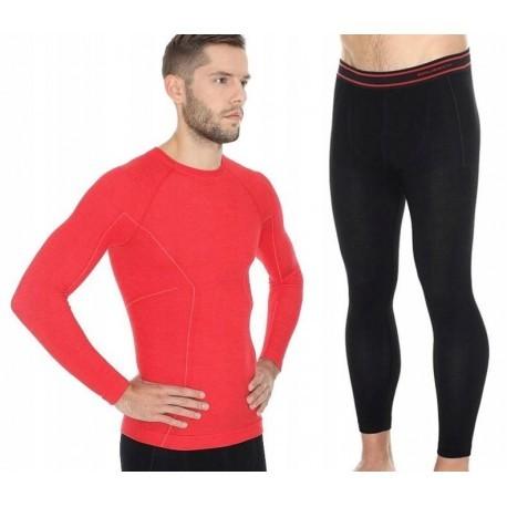 BRUBECK Active Wool Merino komplet czerwony