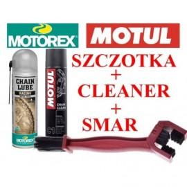 Zestaw Motorex Racing smar do łańcucha + Motul C1 środek do czyszczenia + szczotka