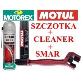 Zestaw Motorex Off Road Fully Synthetic smar do łańcucha + Motul C1 środek do czyszczenia + szczotka