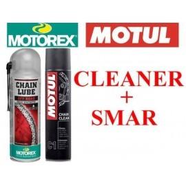 Zestaw Motorex Off Road Fully Synthetic smar do łańcucha + Motul C1 środek do czyszczenia