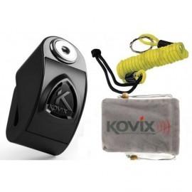 KOVIX KD6 Blokada Tarczy z Alarmem 120dB + Linka czarna