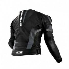Shima STR męska skórzana kurtka motocyklowa czarna