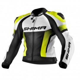 Shima STR męska skórzana kurtka motocyklowa żółta fluo