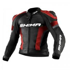 Shima STR męska skórzana kurtka motocyklowa czarno czerwona