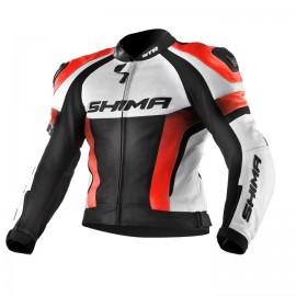 Shima STR męska skórzana kurtka motocyklowa pomarańczowa fluo