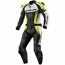 Shima STR męski dwuczęściowy skórzany kombinezon motocyklowy czarno biało żółty fluo