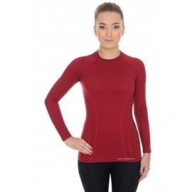 BRUBECK ACTIVE WOOL wełna MERINO damska bluzka burgundowa