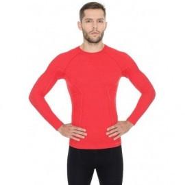 BRUBECK ACTIVE WOOL wełna MERINO męska bluzka czerwona