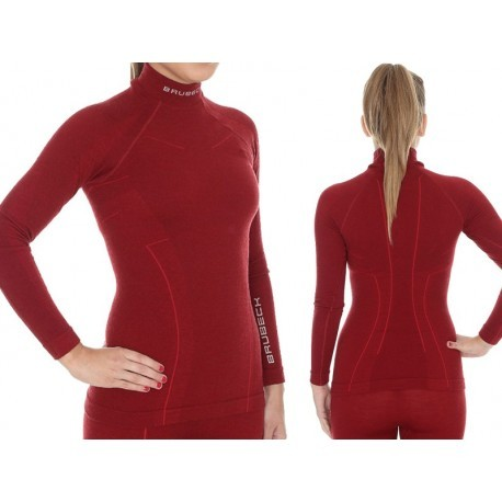 BRUBECK EXTREME WOOL MERINO damska bluza burgund